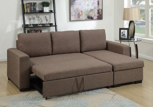 1PerfectChoice Modern 2 pcs Sectional Sofa Pull-Out Bed Under-Seat Storage Coffee Polyfiber