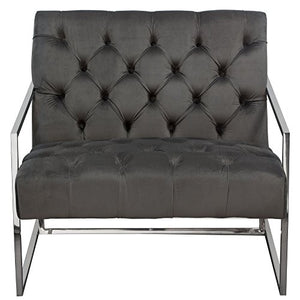 Diamond Furniture LUXECHDG Luxe Accent Chair in Dusk Grey Tufted Velvet Fabric with Polished Stainless Steel Frame