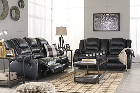 Vacherie Contemporary Black Color Faux Leather Reclining Sofa and Loveseat Set