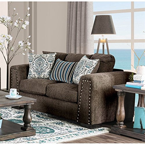 Furniture of America Cantrell Transitional Loveseat in Brown