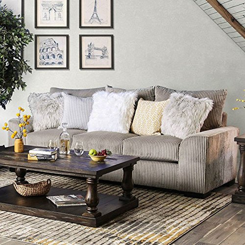 Esofastore Contemporary 2pc Sofa Set Sofa And Loveseat Gray Living Room Furniture Textured Couch Wide Wale Corduroy