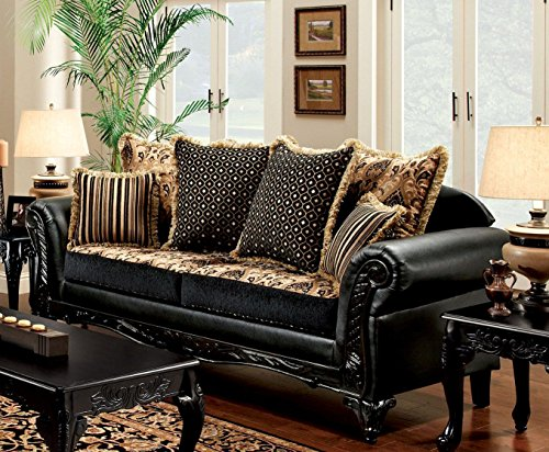 Furniture of America SM7506-SF Isabella Sofa, Camel/Dark Brown