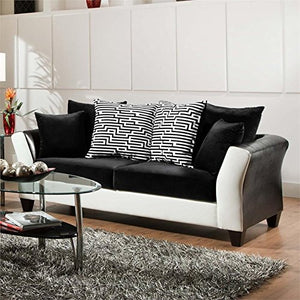 BOWERY HILL Faux Leather Sofa in Black and White