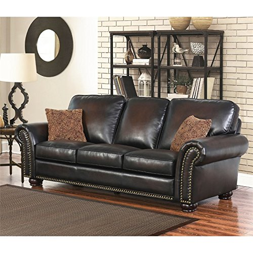 Hawthorne Collections Bonded Leather Sofa in Brown