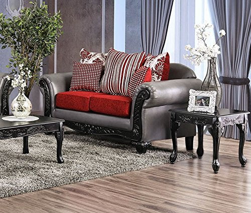 Esofastore Classic Red/Gray 2pc Sofa Set Living Room Furniture Sofa And Loveseat Leatherette Cushion Couch Chenille Pillows Seats