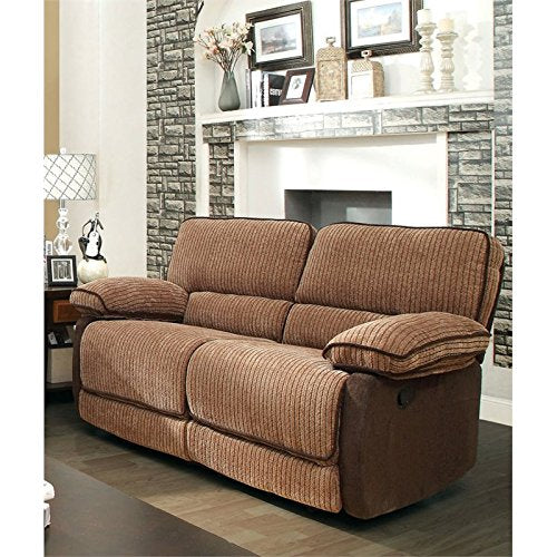 Furniture of America Bernard Chenille Reclining Loveseat in Brown
