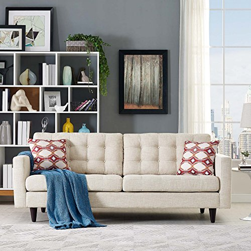 Modway Empress Mid-Century Modern Upholstered Fabric Sofa In Beige