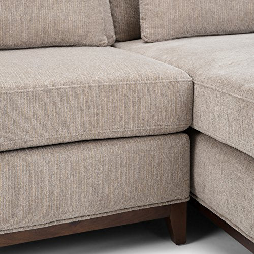 Simpli Home Petra Sectional Sofa, Fog Grey