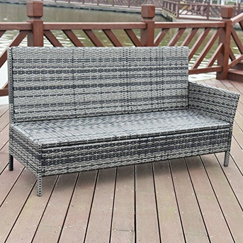 5 pcs Patio Wicker Rattan Furniture Set w/Brown Cushion
