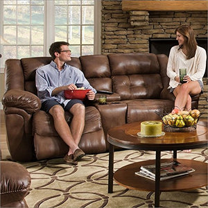 Simmons Upholstery Wisconsin Beauty Rest Motion Console Loveseat, Chocolate