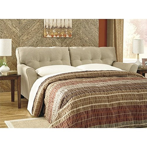 Benchcraft - Laryn Contemporary Sofa Sleeper with Throw Pillows - Queen Size Bed - Khaki