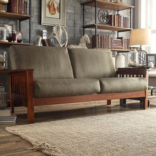 TRIBECCA HOME Hills Mission-style Oak and Olive Sofa