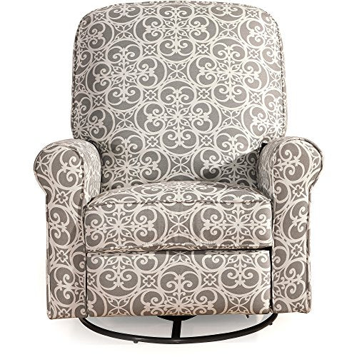 Padded Swivel Glider Rocker, Geometric Pattern Fabric, Durable Construction, Lumbar Support, Metal Mechanism, Comfortable, Ideal for Nursery, Living Room, Home Furniture + Expert Guide