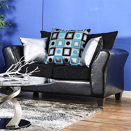 Furniture of America Jazzy Faux Leather Loveseat in Black