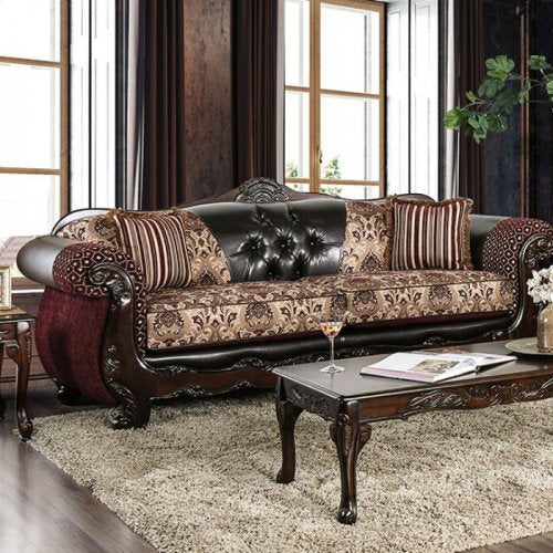 Esofastore Luxurious Traditional Intricate Wood Trim Burgundy Leatherette  Sofa Loveseat w Pillows 2pc Sofa Set Rolled Arms Tufted Couch Coushion