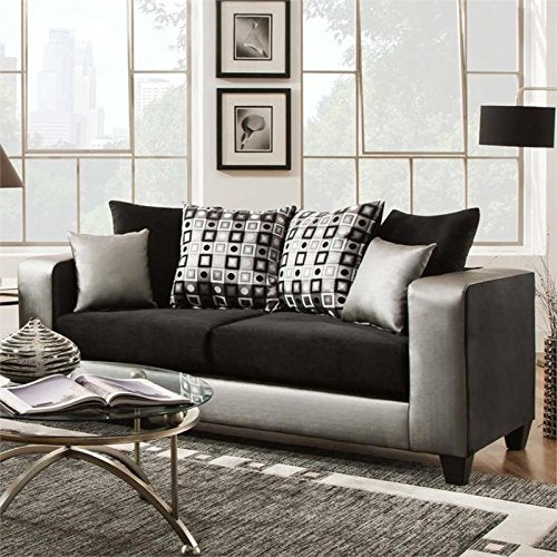 Pemberly Row Velvet Sofa in Black and Silver