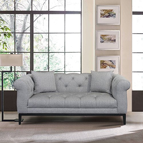 Armen Living LCGL2GR Glamour Loveseat, Grey