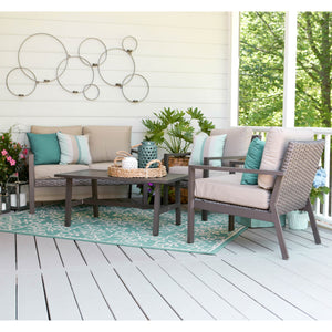 Leisure Made 4 Piece Preston Wicker Seating, Tan Fabric
