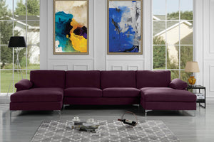 Modern Large Velvet Fabric U-Shape Sectional Sofa, Double Extra Wide Chaise Lounge Couch (Purple)