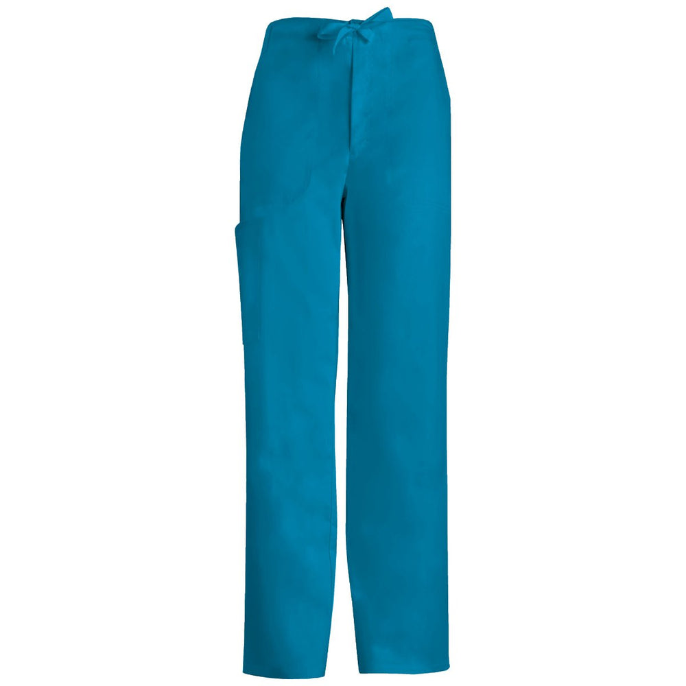 Cherokee Luxe 1066 Scrubs Pants Women's Low Rise Straight Leg Drawstring Caribbean Blue