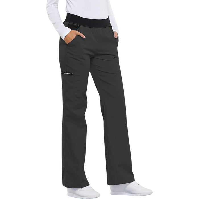 Cherokee Flexibles 1031 Scrubs Pants Women's Mid Rise Knit Waist Pull-On Pewter 3XL