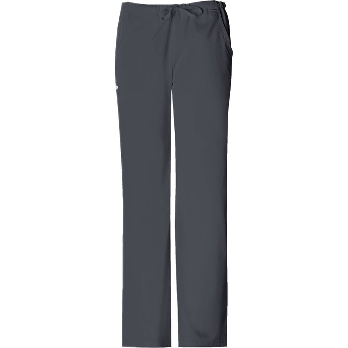 Cherokee Luxe 1066 Scrubs Pants Women's Low Rise Straight Leg Drawstring Pewter
