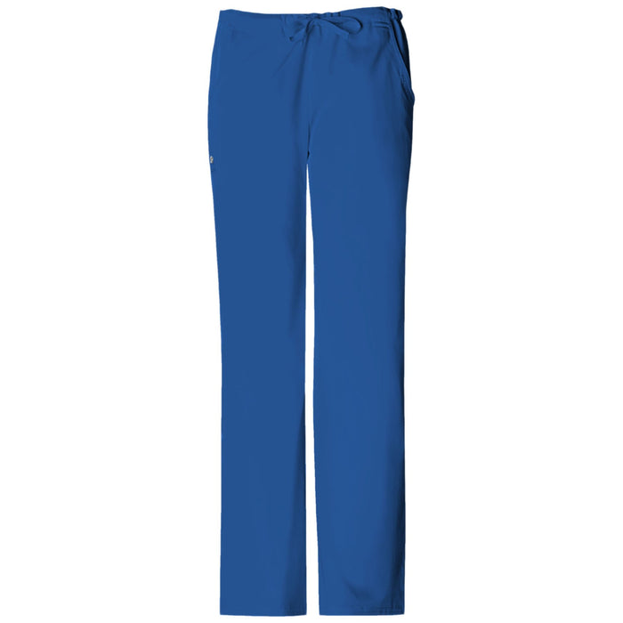 Cherokee Luxe 1066 Scrubs Pants Women's Low Rise Straight Leg Drawstring Royal