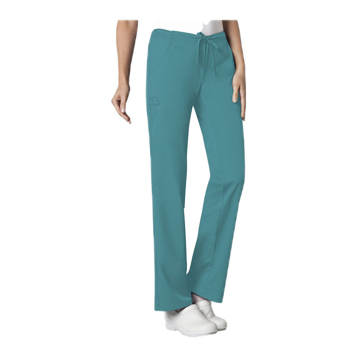 Cherokee Luxe 1066 Scrubs Pants Women's Low Rise Straight Leg Drawstring Teal Blue