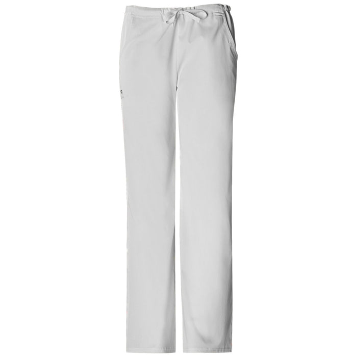 Cherokee Luxe 1066 Scrubs Pants Women's Low Rise Straight Leg Drawstring White