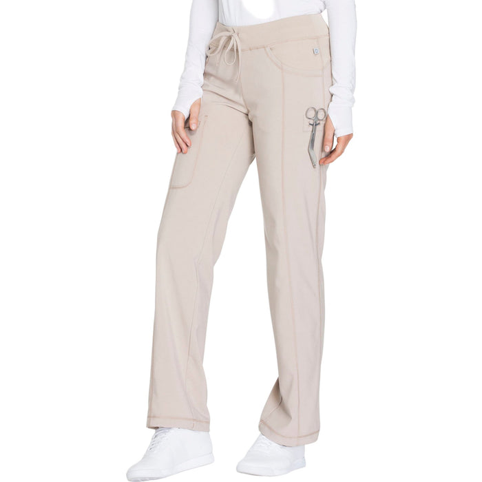 Cherokee Infinity 1123A Scrubs Pants Women's Low Rise Straight Leg Drawstring Khaki