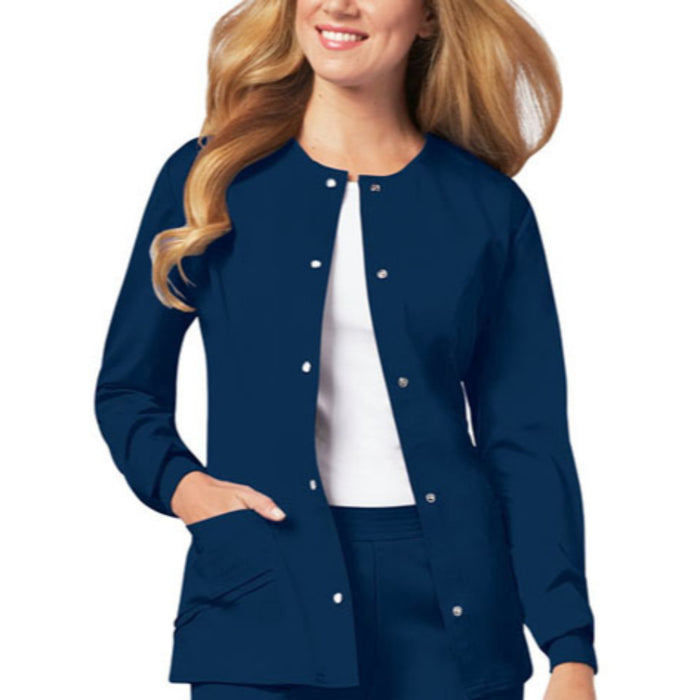 Cherokee Luxe 1330 Scrubs Jacket Women's Snap Front Warm-Up Navy
