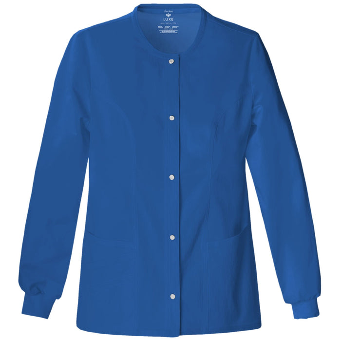 Cherokee Luxe 1330 Scrubs Jacket Women's Snap Front Warm-Up Royal