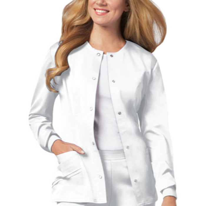 Cherokee Luxe 1330 Scrubs Jacket Women's Snap Front Warm-Up White