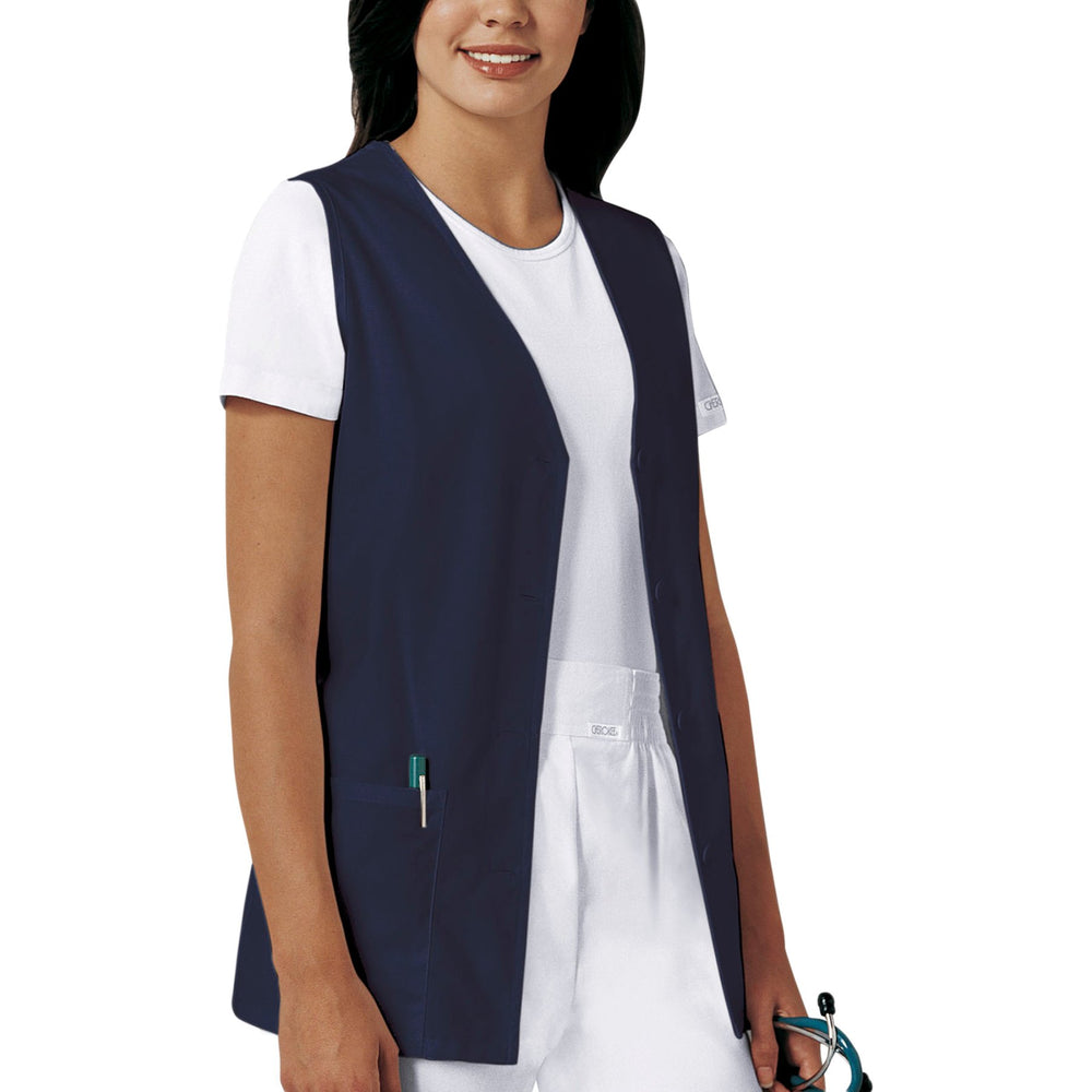 Cherokee Workwear Professionals 1602 Vests Women's Button Front Navy