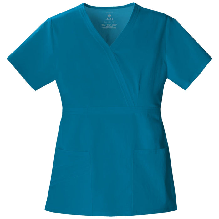 Cherokee Luxe 1841 Scrubs Top Women's Mock Wrap Caribbean Blue