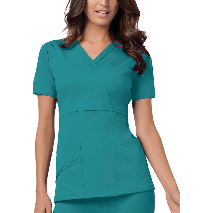 Cherokee Luxe 1841 Scrubs Top Women's Mock Wrap Teal Blue