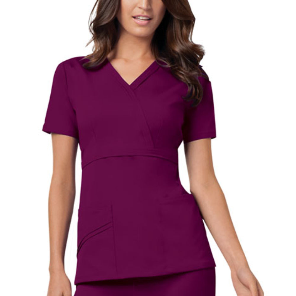Cherokee Luxe 1841 Scrubs Top Women's Mock Wrap Wine