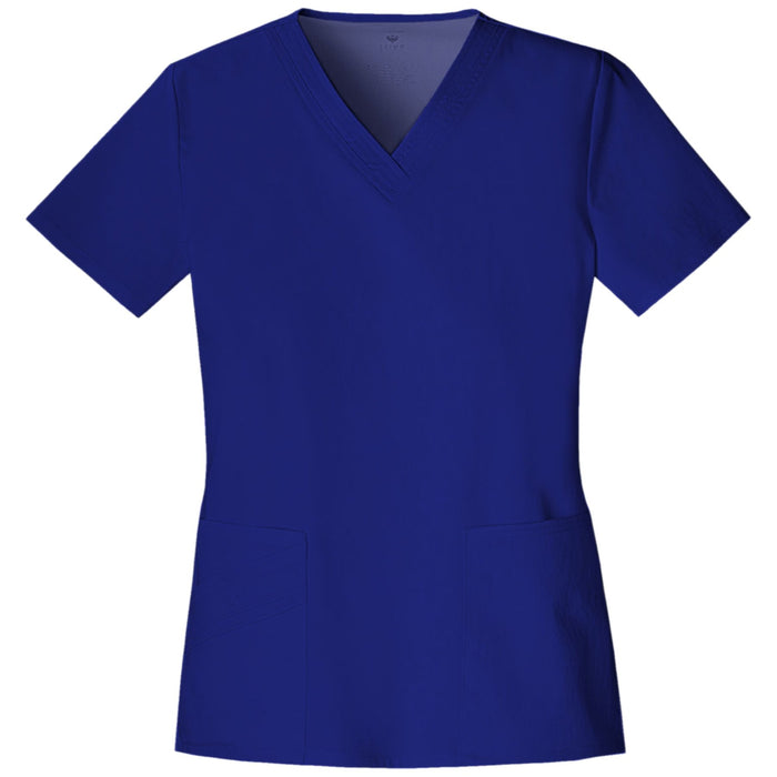 Cherokee Luxe 1845 Scrubs Top Women's V-Neck Galaxy Blue