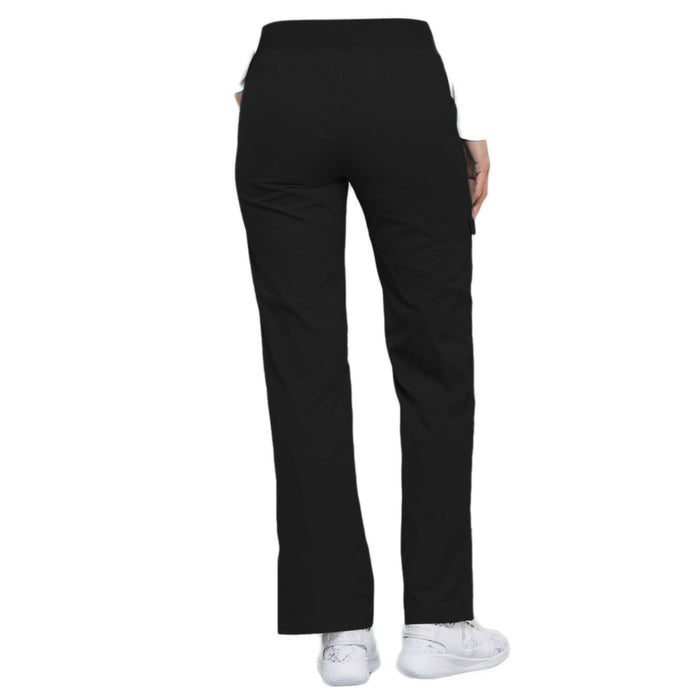 Cherokee Flexibles 2085 Scrubs Pants Women's Mid Rise Knit Waist Pull-On Black 3XL