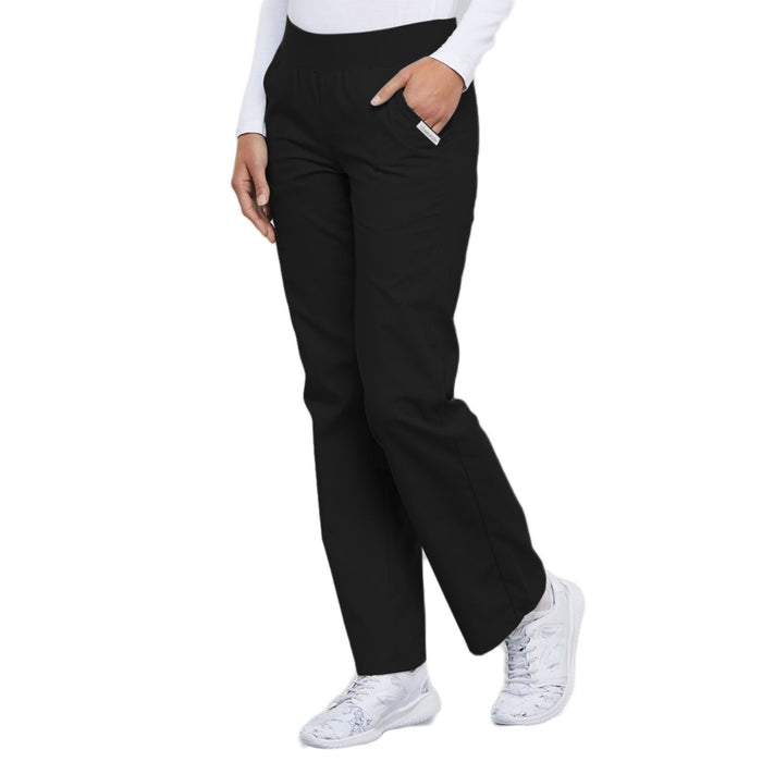 Cherokee Flexibles 2085 Scrubs Pants Women's Mid Rise Knit Waist Pull-On Black 4XL