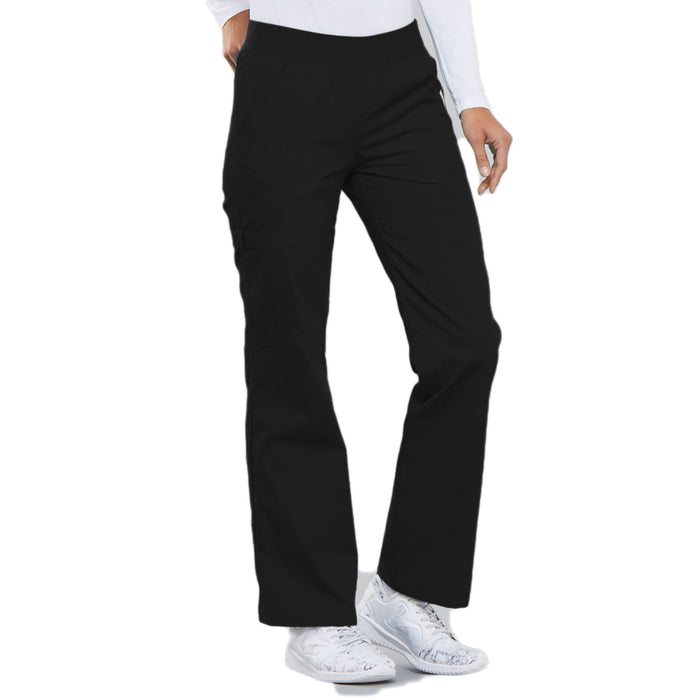Cherokee Flexibles 2085 Scrubs Pants Women's Mid Rise Knit Waist Pull-On Black