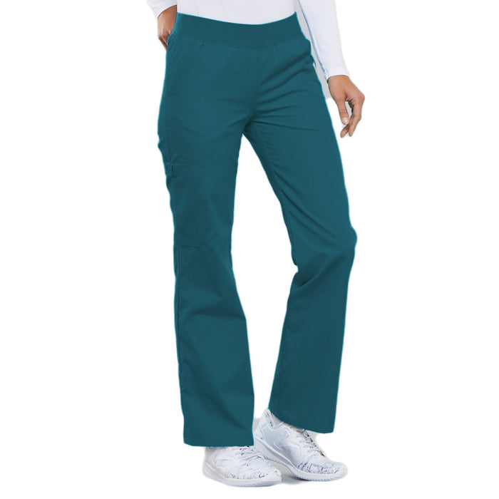 Cherokee Flexibles 2085 Scrubs Pants Women's Mid Rise Knit Waist Pull-On Caribbean Blue