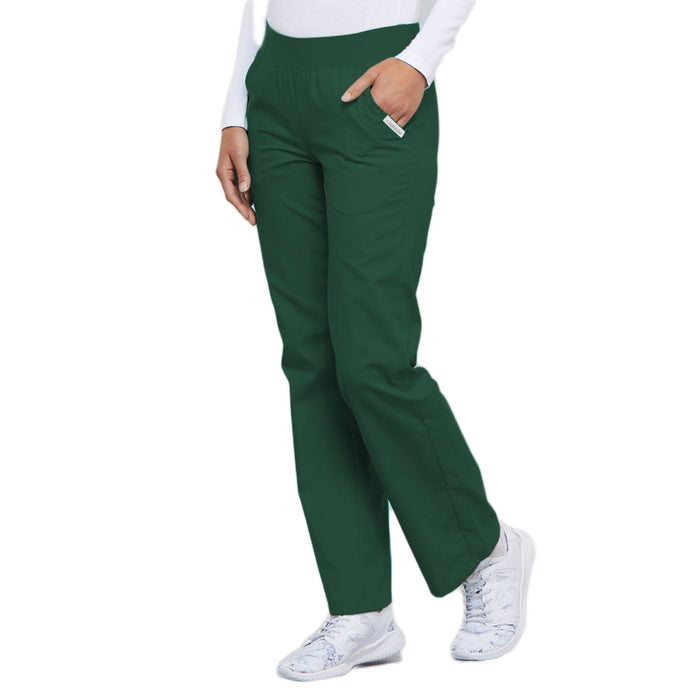 Cherokee Flexibles 2085 Scrubs Pants Women's Mid Rise Knit Waist Pull-On Hunter Green 3XL