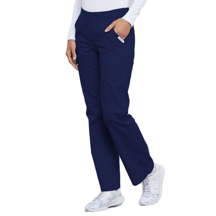 Cherokee Flexibles 2085 Scrubs Pants Women's Mid Rise Knit Waist Pull-On Navy 3XL