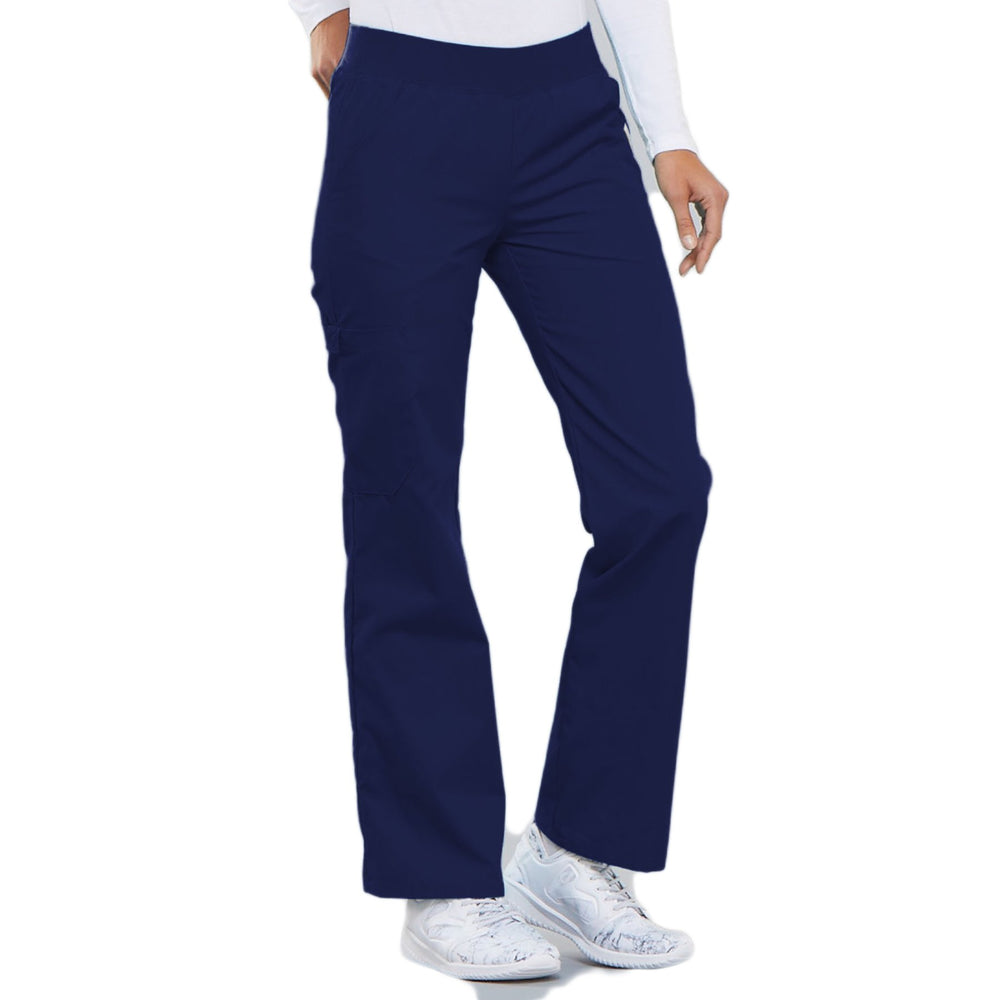 Cherokee Flexibles 2085 Scrubs Pants Women's Mid Rise Knit Waist Pull-On Navy