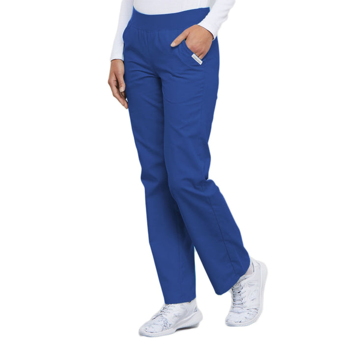 Cherokee Flexibles 2085 Scrubs Pants Women's Mid Rise Knit Waist Pull-On Royal 3XL