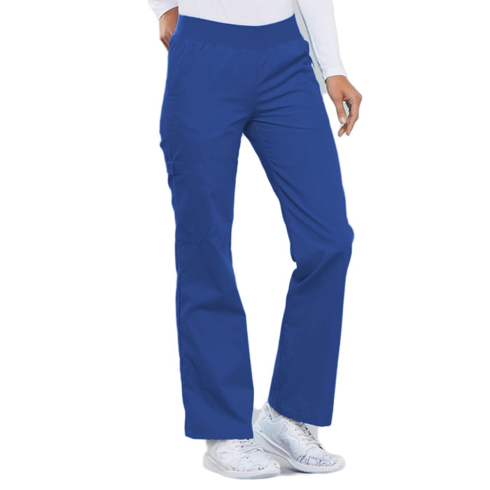 Cherokee Flexibles 2085 Scrubs Pants Women's Mid Rise Knit Waist Pull-On Royal