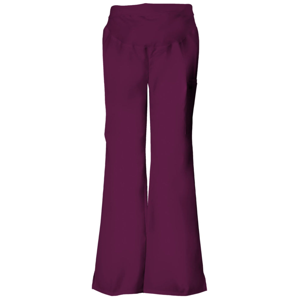Cherokee Flexibles 2092 Scrubs Pants Maternity Knit Waist Pull-On Wine
