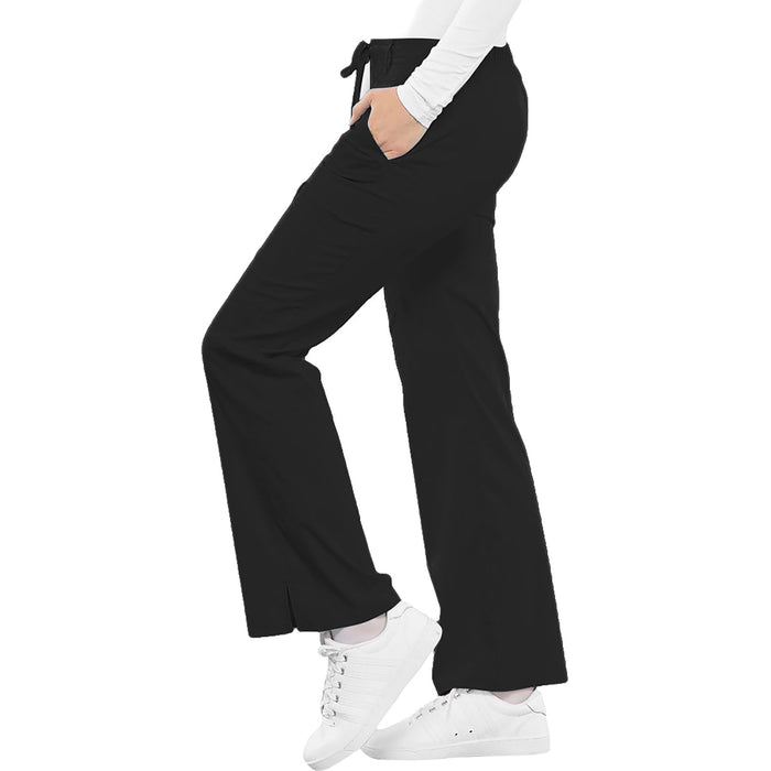 Cherokee Luxe 21100 Scrubs Pants Women's Low Rise Flare Leg Drawstring Cargo Black