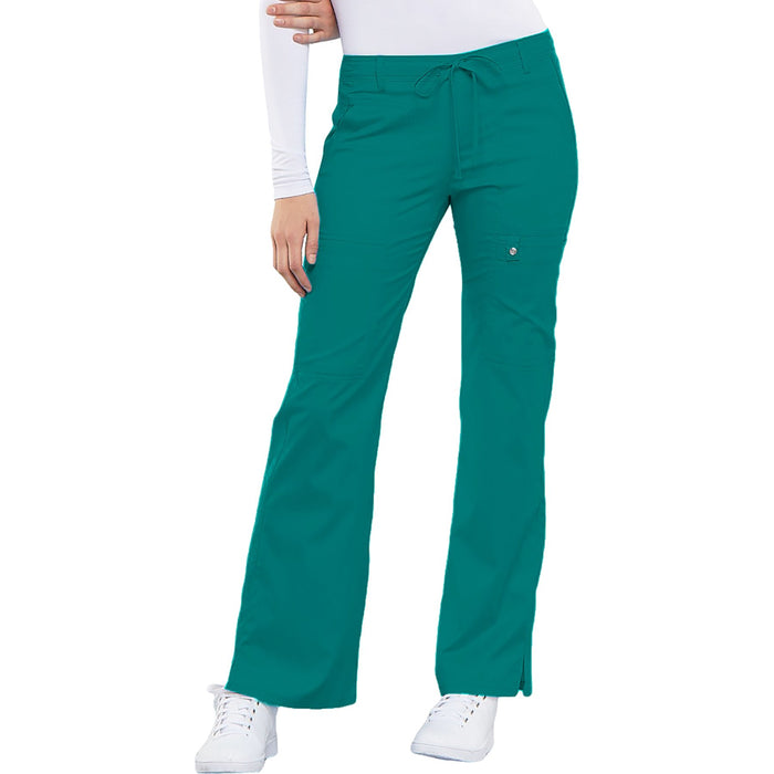 Cherokee Luxe 21100 Scrubs Pants Women's Low Rise Flare Leg Drawstring Cargo Teal Blue